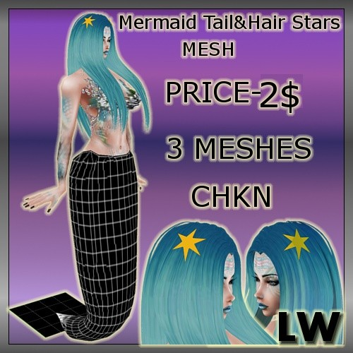 Mermaid Tail&Stars Hair Accessories MESH