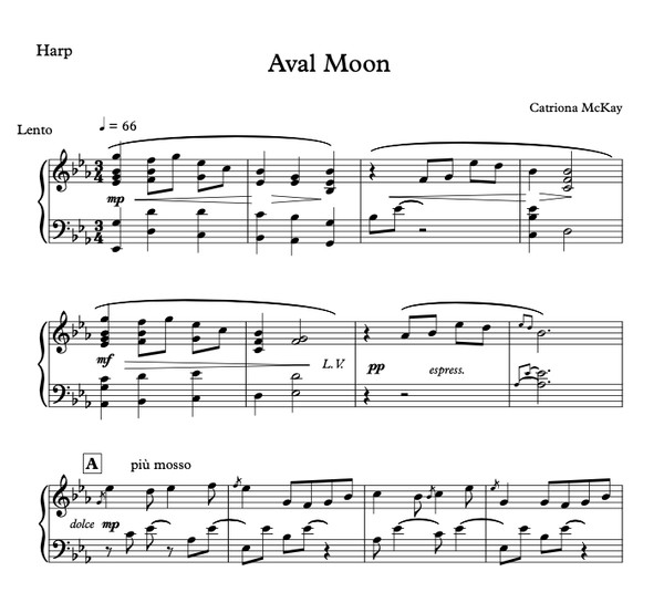 Aval Moon - Catriona McKay, Harp Solo or Harp / Solo Violin / Strings