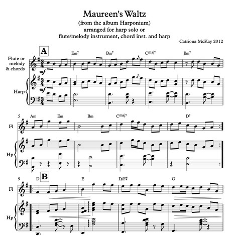 Maureen's Waltz composed by Catriona McKay for solo harp or harp/flute/melody/chord instrument