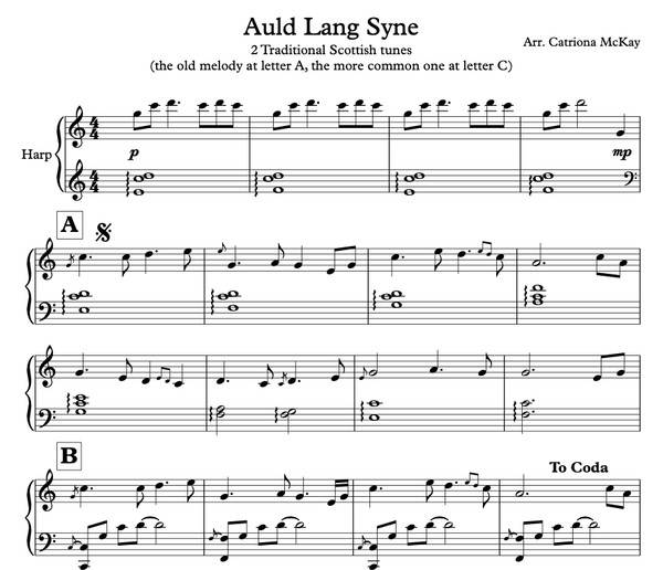 Auld Lang Syne arr. Catriona McKay (Harp Solo Intermediate)