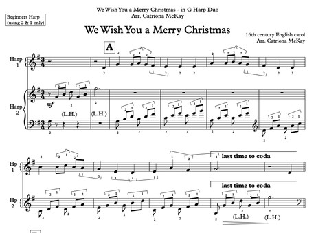 We Wish You a Merry Christmas arr. Catriona McKay BEGINNER HARP
