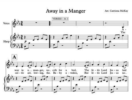 Away in a Manger (HP & voice / HP Duo or Hp & melody inst) arr. C McKay
