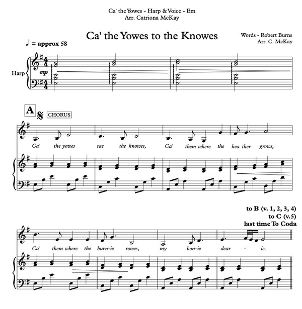 Ca' the Yowes to the Knowes, Hp&Voice, Robert Burns, arr. Catriona McKay