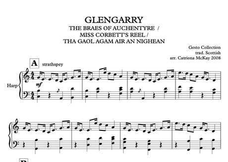 Glengarry Strathspey & 3 Reels arr. C McKay ADV harp solo