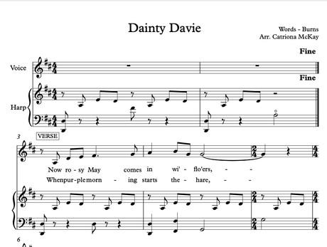 Dainty Davie, Words by Robert Burns, HP & VOICE arr. C McKay