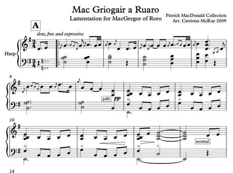 Lamentation for MacGregor of Roro, ADVANCED level, Arr C McKay