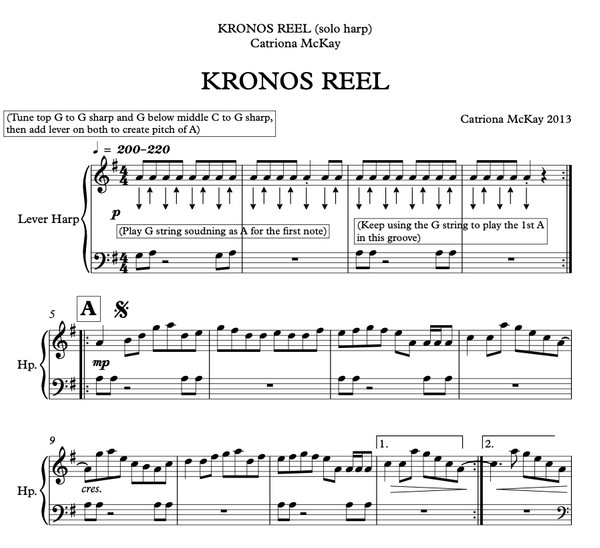 KRONOS REEL Catriona McKay (3 versions - hp solo / hp duo / hp, flute, chords)