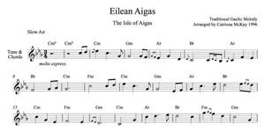 ISLE OF AIGAS Advanced Harp Solo, Intermediate Harp Solo, tune & chords Arranged by Catriona McKay