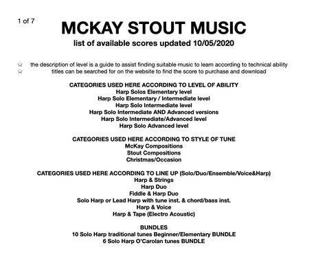 MCKAY STOUT MUSIC list of available scores 10/05/2020
