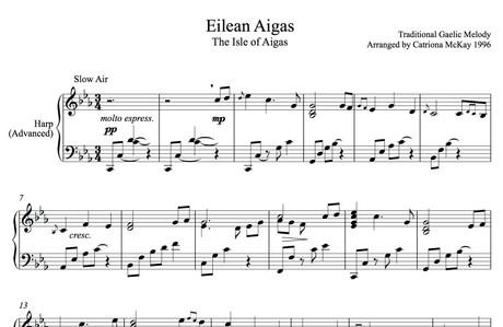 ISLE OF AIGAS Advanced Harp Solo, Intermediate Harp Solo, tune & chords arr. C McKay