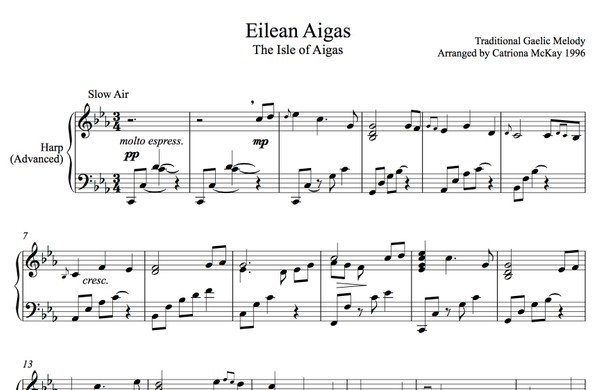 ISLE OF AIGAS Advanced Harp Solo, Intermediate Harp Solo, tune & chords arr. C McKay