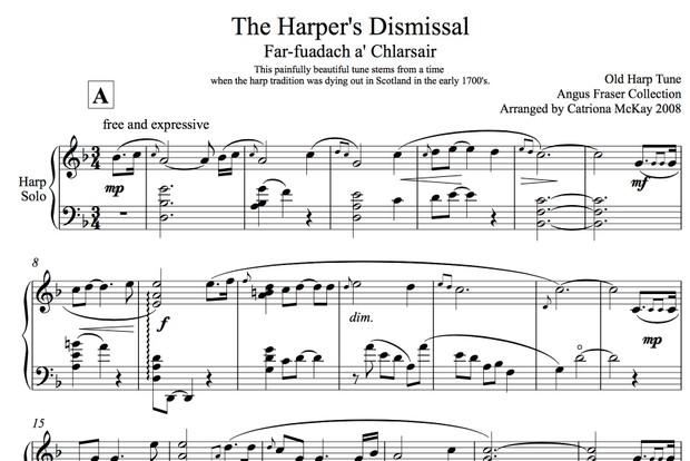 The Harper's Dismissal, Advanced Harp Solo, Arranged by Catriona McKay
