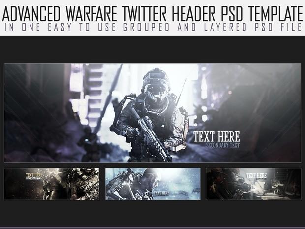 x4 Advanced Warfare themed twitter headers