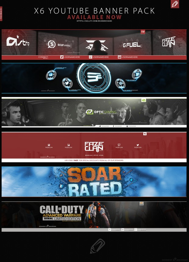 YouTube Banner Pack (x6 Customisable Banners)