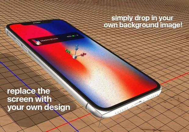 iPhone X 3D photoshop mockup templates