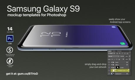 Samsung Galaxy S9 screen mockups for Photoshop