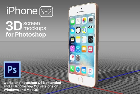 iPhone SE 2 - 3D photoshop mockup templates