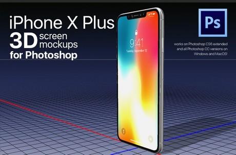 iPhone X PLUS 3D photoshop mockup templates