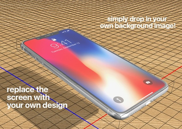 iPhone X PLUS 3D photoshop mockup templates