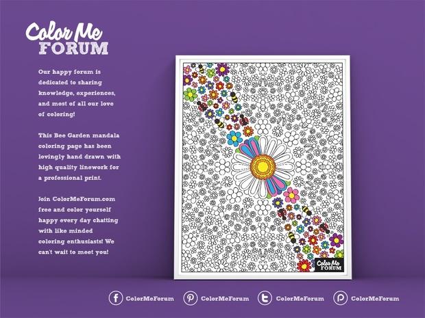 Bee Garden Mandala Coloring Page Color Me Forum