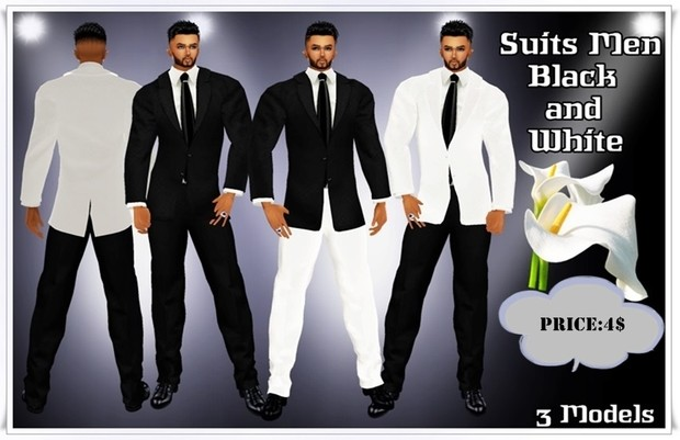 Suit full men black and white