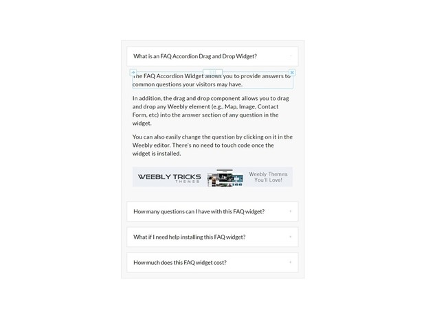 FAQ Accordion Drag & Drop Weebly Widget