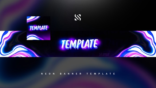 FREE NEON YOUTUBE BANNER TEMPLATE 2018 by Sanczo