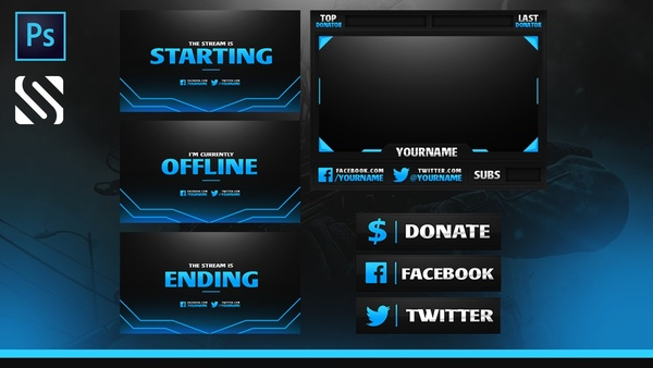 Free Full Livestream Overlay Template (Webcam,  Pannels, Endscreen etc.)