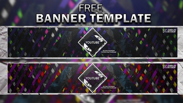 FREE BANNER TEMPLATE (Custom your color!) by Sanczo