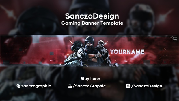 free gaming banner avatar template by sanczo