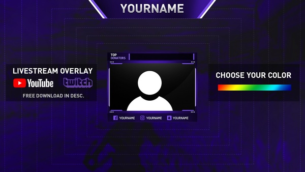 Free Clean Livestream Overlay Template for Youtube/Twitch