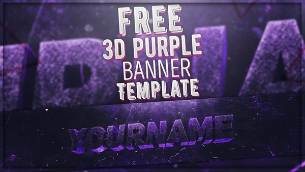 FREE 3D PURPLE BANNER TEMPLATE - Photoshop & Cinema 4D