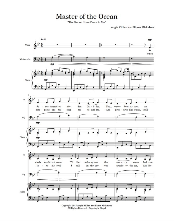 Master of the Ocean - Vocal Duet with Piano and Cello - Scores (original Key of Bb)