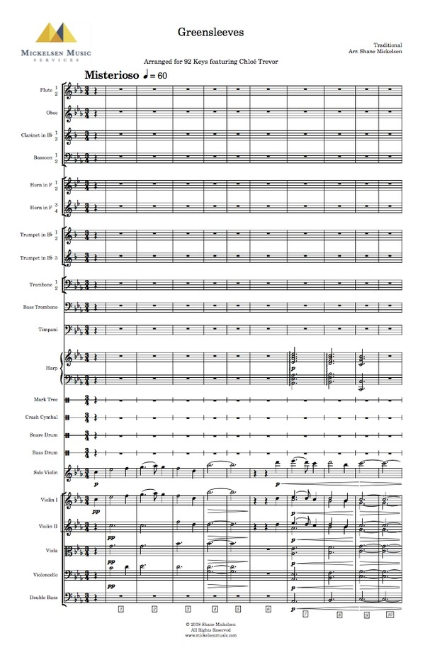 Greensleeves - Full Orchestra + Solo Violin