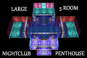 LARGE 5 ROOM NIGHTCLUB/PENTHOUSE