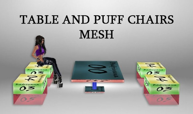 TABLE AND PUFF CHAIR MESH
