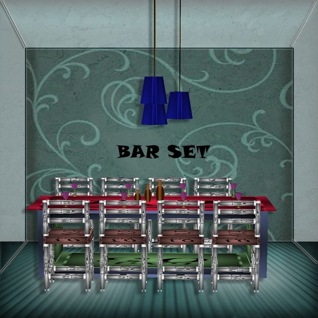 BAR SET WITH CHAIRS MESH