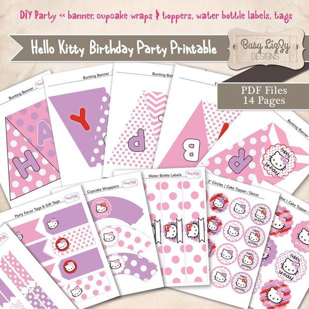 DIY Hello Kitty Party Printable Purple Pink Red PDF 85