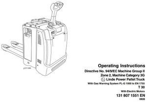 Linde Electric Tractor Type 131: T30 PL-G1000 Operating Instructions (User Manual)