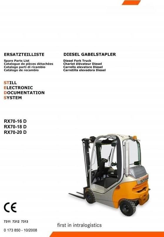 Still Diesel Forklift Truck RX70-16, RX70-18, RX70-20: 7311, 7312, 7313 Spare Parts Manual