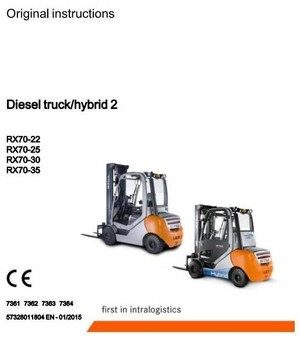 Still Forklift Truck RX70-22D, RX70-25D, RX70-30D, RX70-35D:7361,  7362, 7363, 7364 Operating Manual