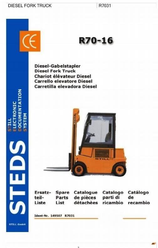 Still Diesel Fork Truck R70-16D: DFG R7031 Parts Manual