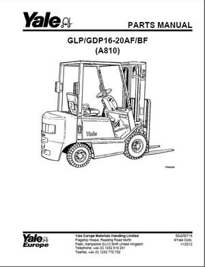 Yale (A810) GLP16-20AF GLP16-20BF GDP16-20AF GDP16-20BF Forklift Service Parts Manual