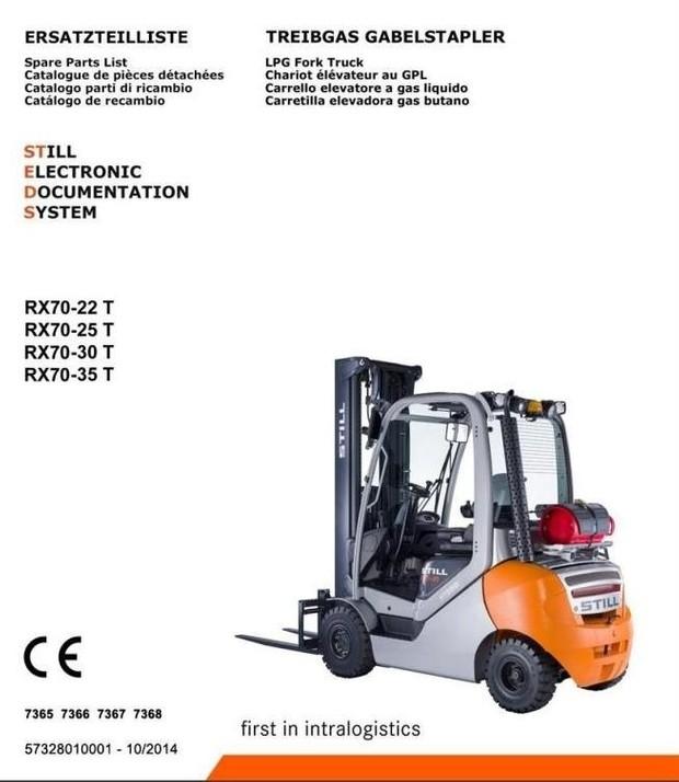 Still LPG Forklift Truck RX70-22T, RX70-25T, RX70-30T, RX70-35T:7365, 7366, 7367, 7368 Parts Manual