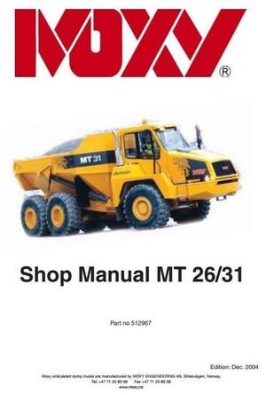 Doosan Articulated Dump Truck Type Moxy MT26, MT31 Workshop Service Manual