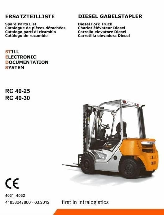 Still Diesel Lift Truck RC40-25, RC40-30: 4031, 4032 Spare Parts Manual, Catalog