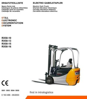 Still Forklift Truck RX50-10, RX50-13, RX50-15, RX50-16: 5051, 5053, 5054, 5055 Parts Manual