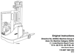 Linde Electric Reach Truck Type 115-02 Explosion Protected: R14-02, R16-02, R20-02 Ex User Manual