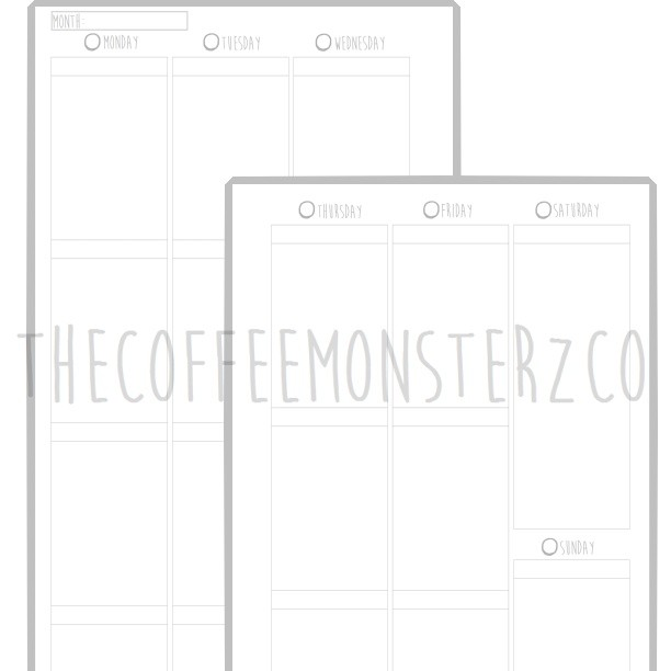 Weekly Vertical Planner Printable (A5)
