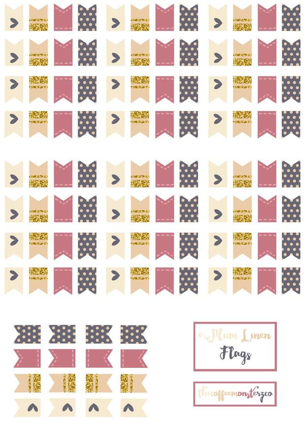Purple Linen Flags (DIY Sticker Book)